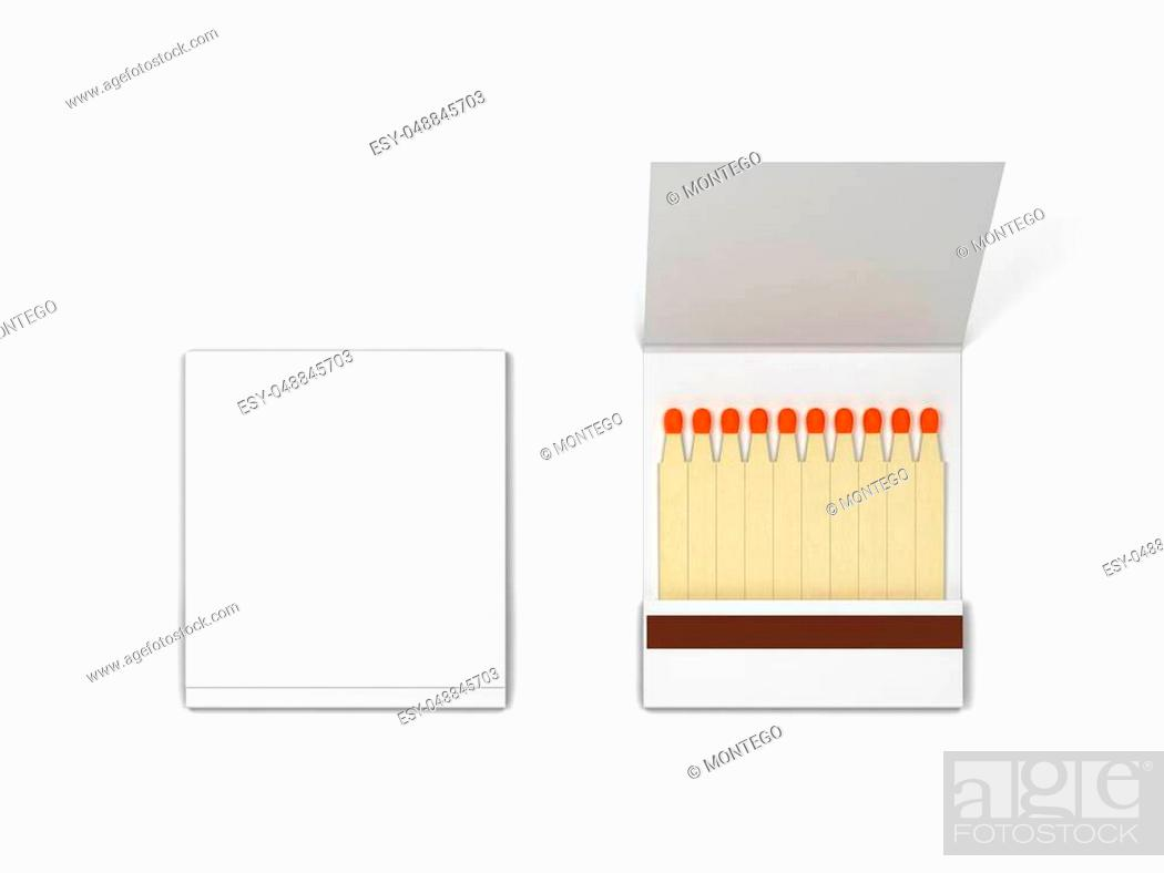 Stock Photo: Paper book of matches mockup. 3d illustration isolated on white background.
