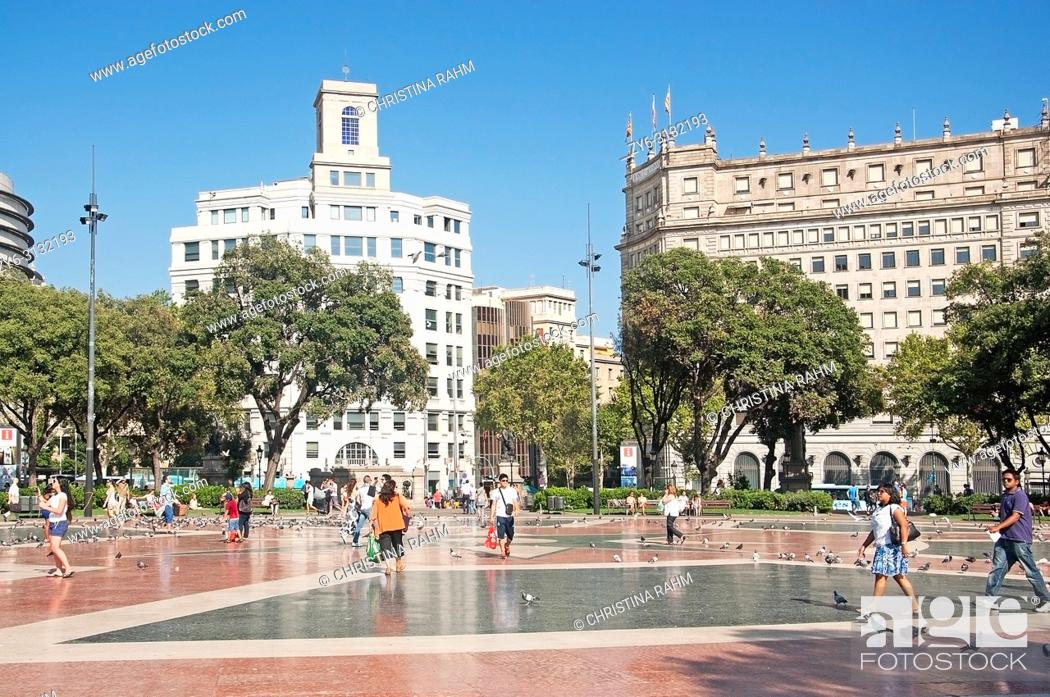 Stock Photo: BARCELONA, SPAIN - JULY 31, 2012: View over Plaza Catalunya and buildings on a sunny summer day on July 31, 2012 in Barcelona, Spain.