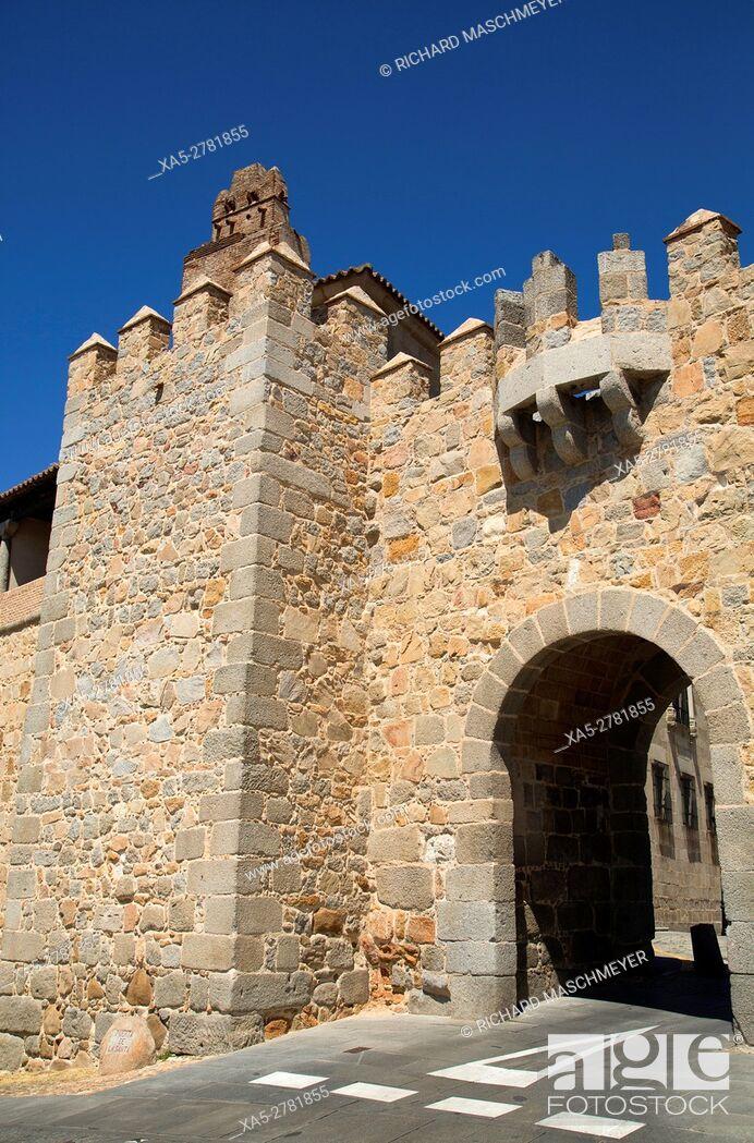 Stock Photo: Puerta de Santa Teresa, Avila, UNESCO World Heritage Site, Spain.