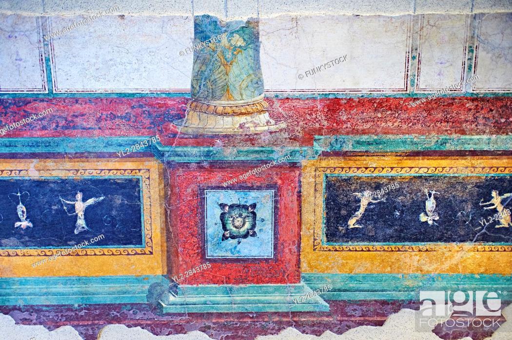 Stock Photo: Roman fresco wall decorations of cryptoporticus A of the Villa Farnesia, Rome. Museo Nazionale Romano ( National Roman Museum), Rome, Italy. .