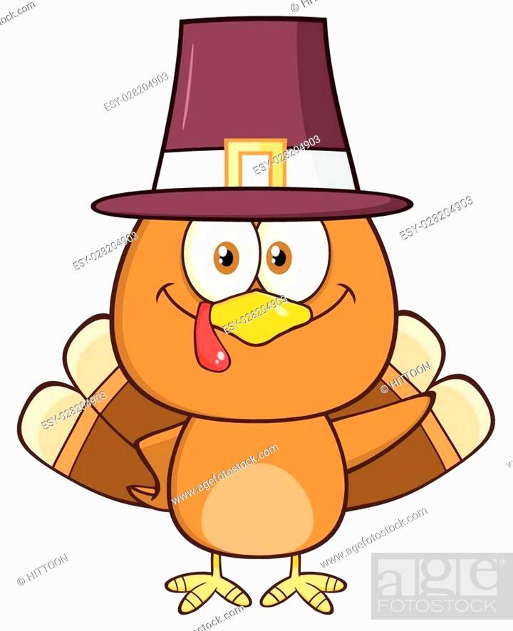 Stock Vector: Cute Pilgrim Turkey Bird Cartoon Character Waving.