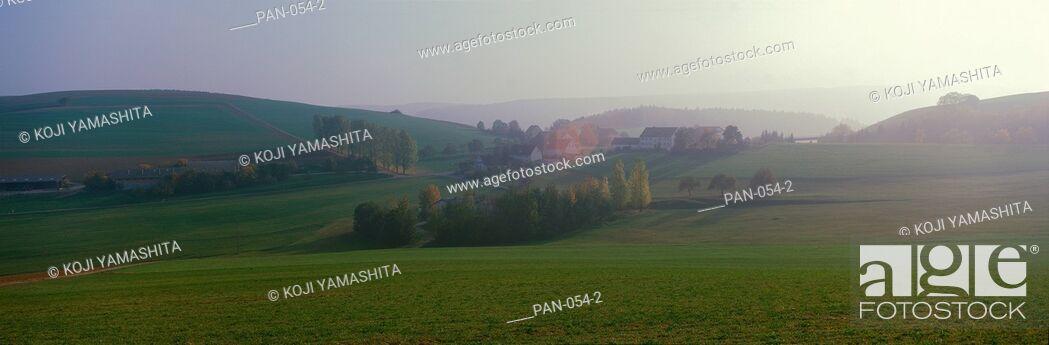 Stock Photo: Misty Rural Scene, near Neuhaus, Black Forest Schwarzwald, Germany.