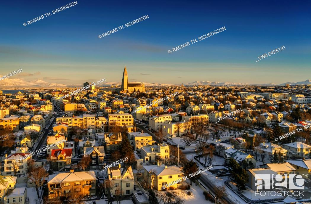 Stock Photo: Aerial view of Reykjavik with Hallgrimskirkja Church in the wintertime, Iceland.