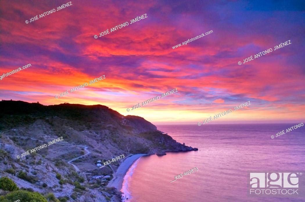 Stock Photo: Maro-Cerro Gordo cliffs at sunset. Málaga province, Andalusia, Spain.