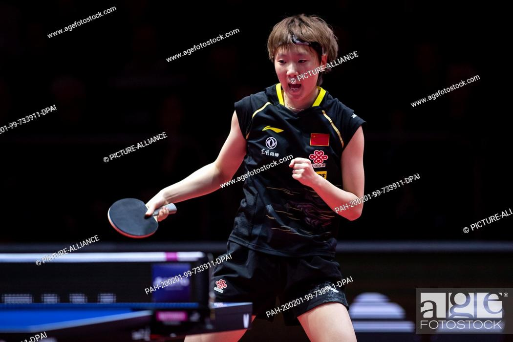 Stock Photo: 01 February 2020, Saxony-Anhalt, Magdeburg: Table tennis: German Open, women, singles, quarter finals, Wang (China) - Sun (China). Wang Manyu.