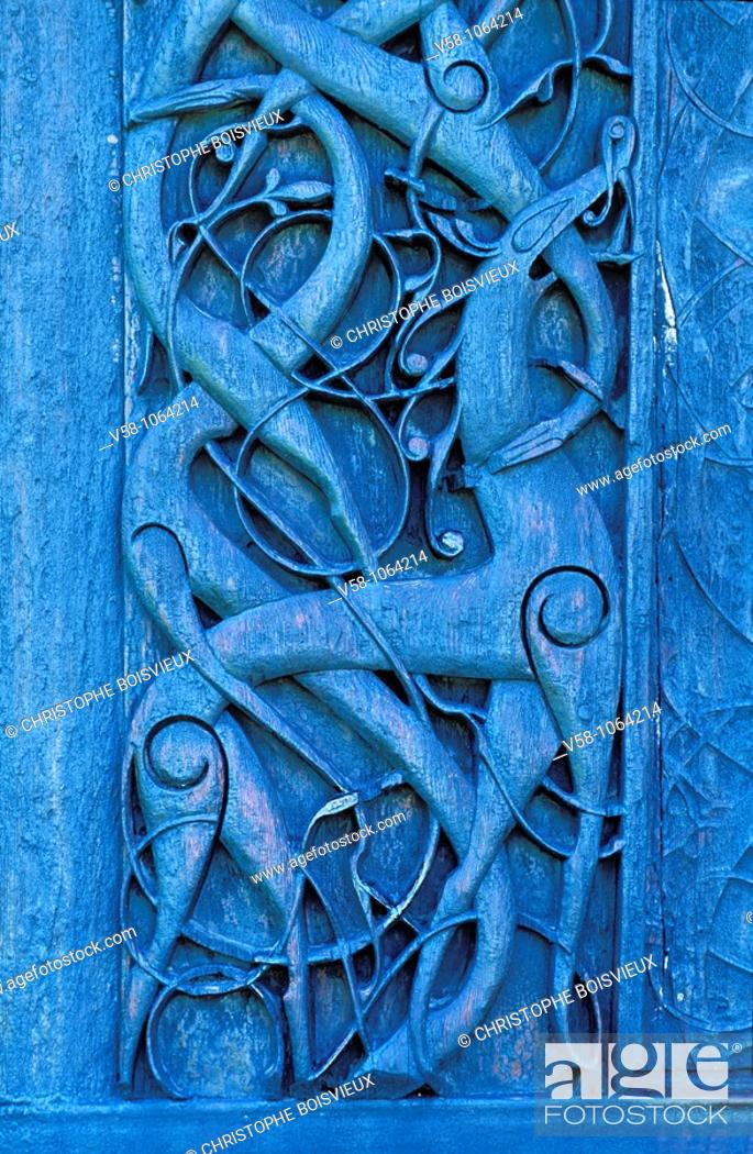 Stock Photo: Norway, Sogn og Fjordane, World Heritage Site, Urnes Stave Church, Carved Doorway 11th Century.