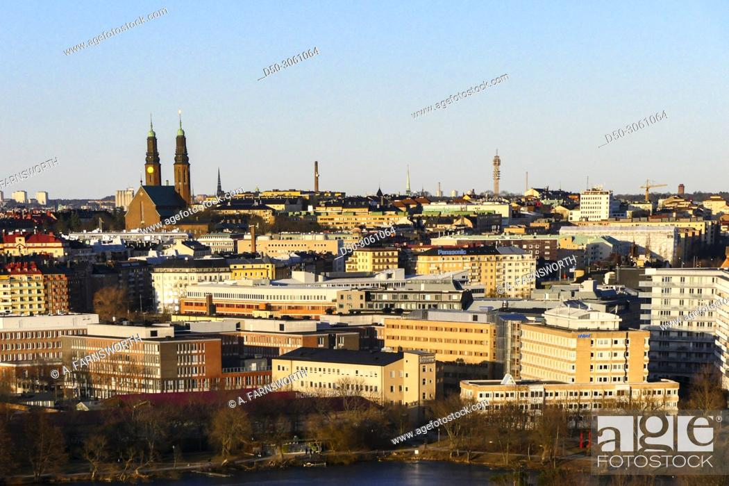 Stock Photo: STOCKHOLM, SWEDEN Neighborhood of Nybohov. The city and Södermalm in background.