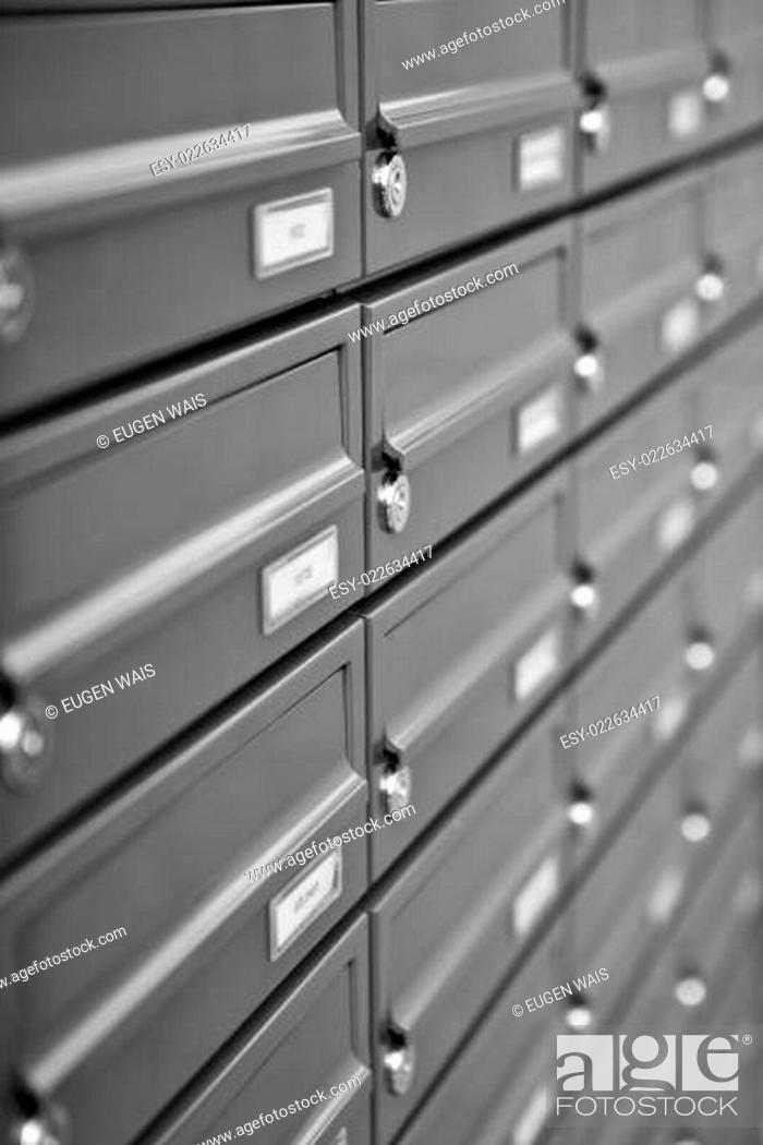 Stock Photo: metallic mailboxes.