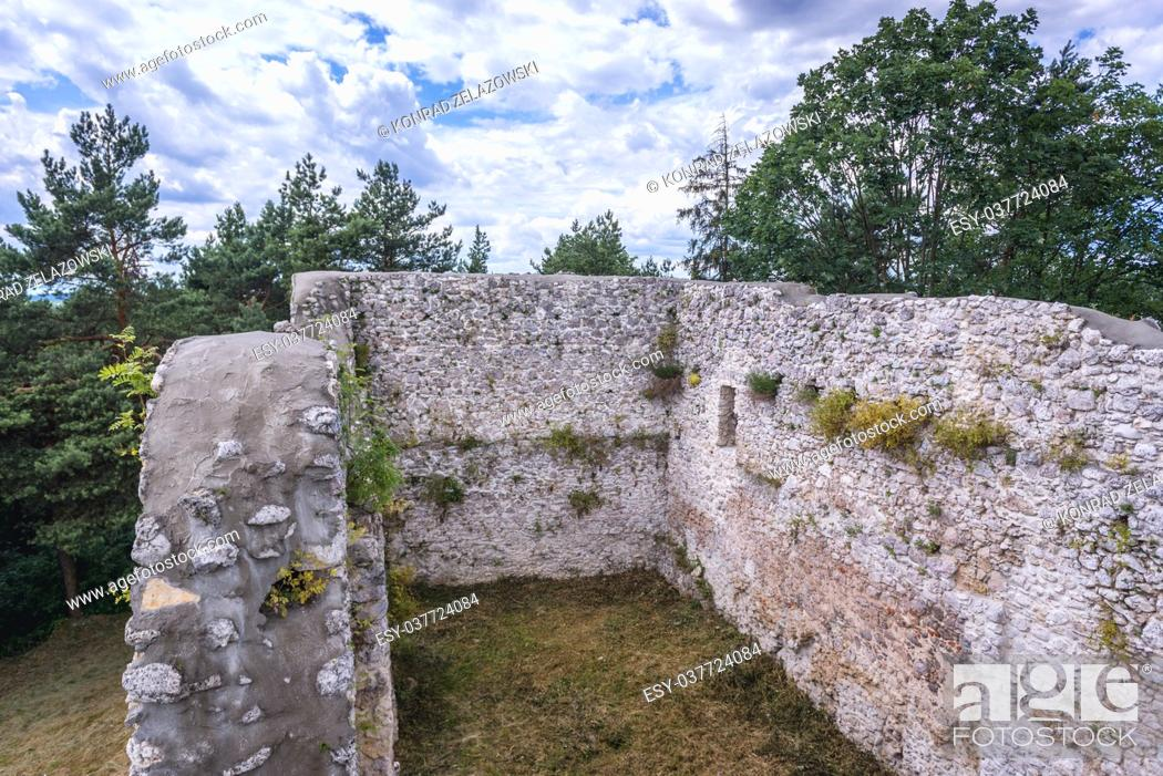 Stock Photo: Ruins of 14th century castle in Bydlin village, part of the Eagles Nests castle system in Lesser Poland Voivodeship of Poland.