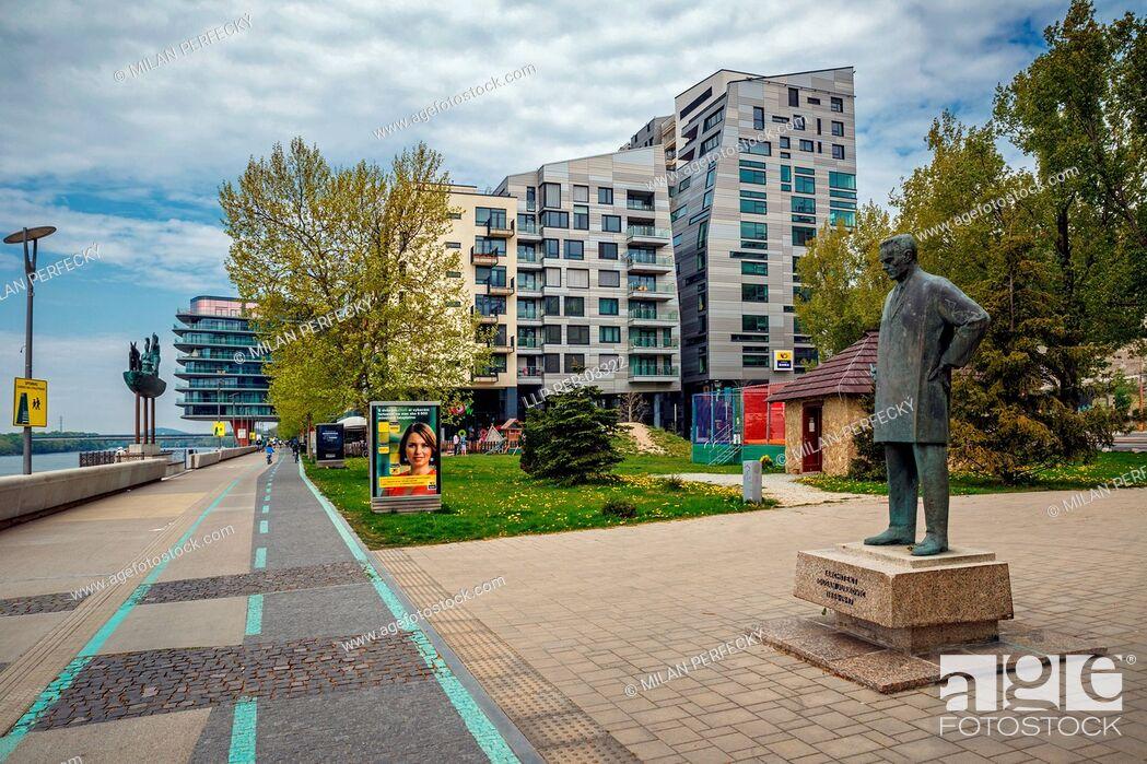 Stock Photo: River Park, statue Jurkovic, Bratislava, Slovakia.