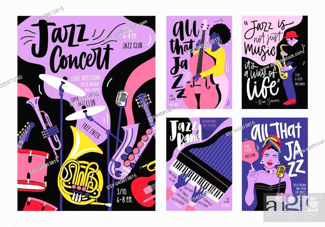 Stock Vector: Bundle of poster, invitation and flyer templates for jazz music festival, concert, party with musical instruments, musicians and singers.