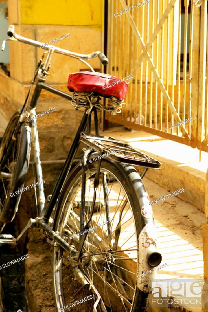 Stock Photo: Close-up of a bicycle, Jaisalmer, Rajasthan, India.