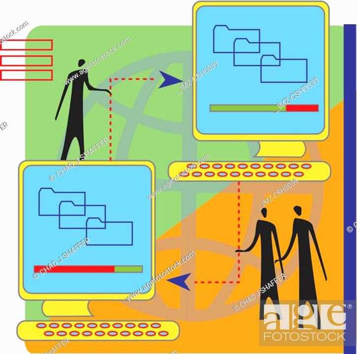 Stock Photo: A cartoon drawing of a file sharing session.