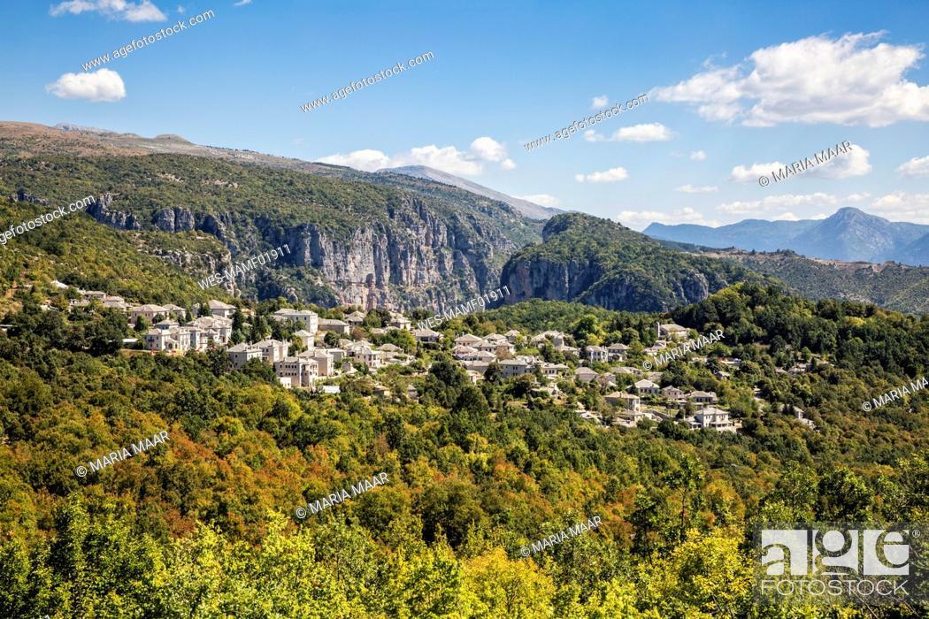 Stock Photo: Greece, Epirus, Zagori, ¶ÿForest surrounding village in¶ÿVikos-Aoos¶ÿNational Park during summer.