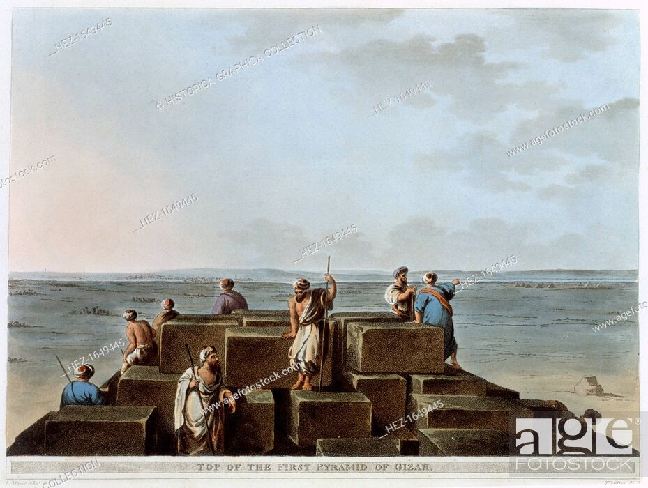 Stock Photo: 'Top of the First Pyramid of Gizah', Egypt, 1802. Plate 4 from Views of Egypt by Luigi Mayer.