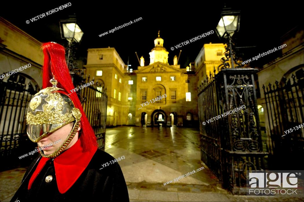 Stock Photo: Trooper on guard duty at Horse Guards.