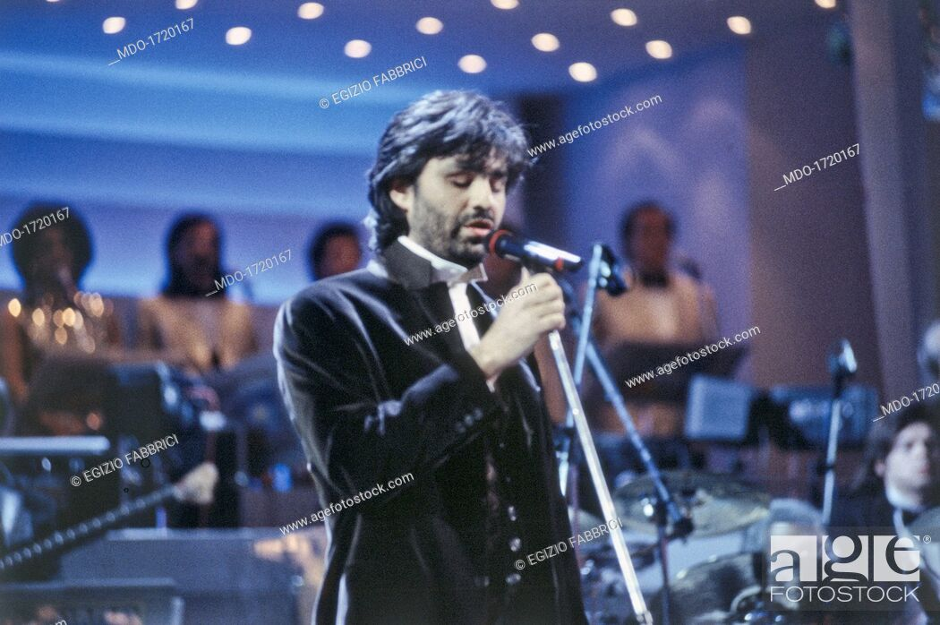 Andrea Bocelli singing at the 45th Sanremo Music Festival ...