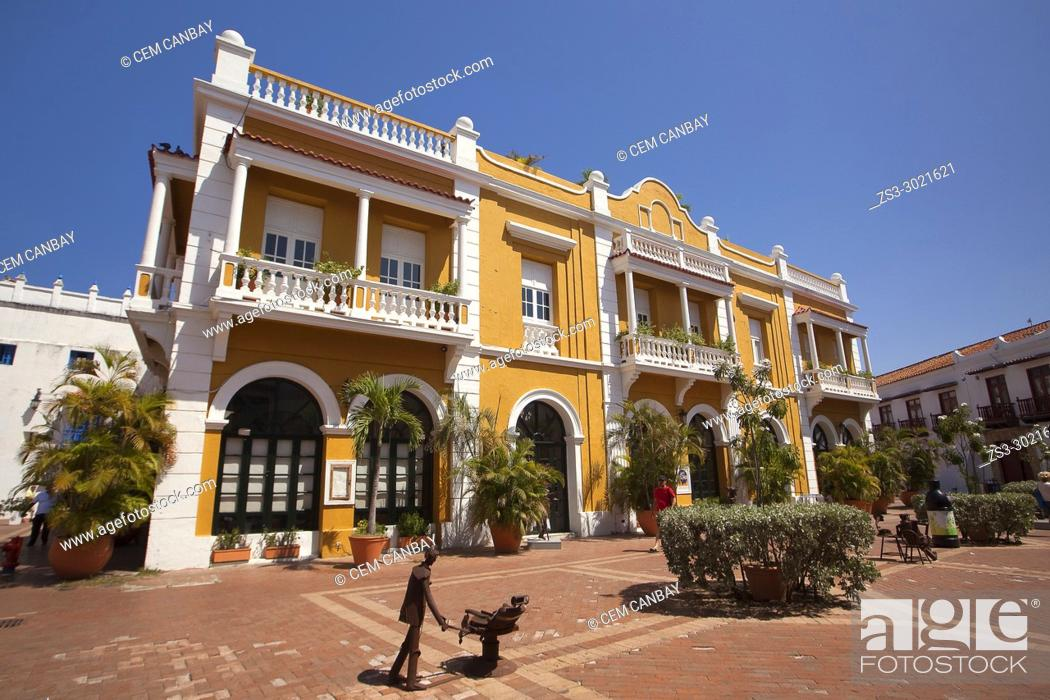 Stock Photo: Colonial building used as San Pedro Cafe-Mirador in Plaza De San Pedro Claver at the historic center, Cartagena de Indias, Bolivar, Colombia, South America.