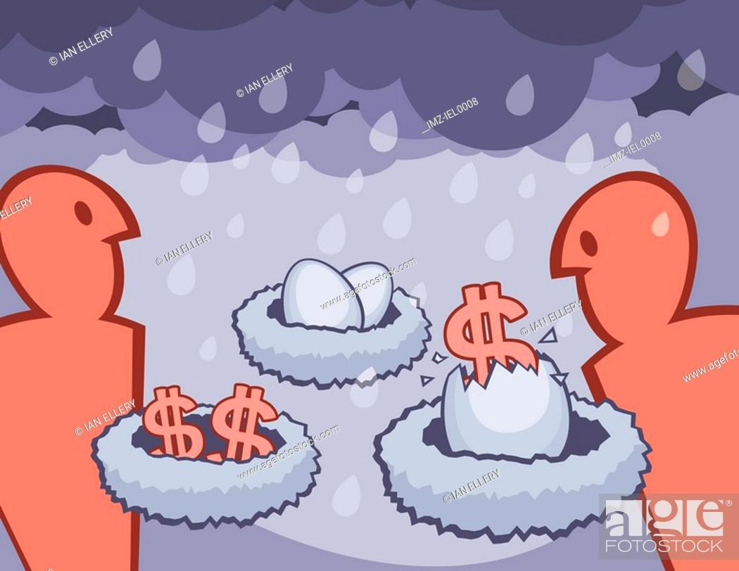 Stock Photo: A graphical illustration depicting financial nest eggs and a rainy day.