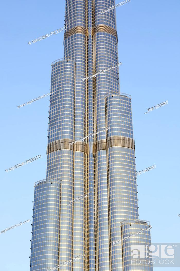Stock Photo: Detail of the Burj Khalifa, Dubai, United Arab Emirates.