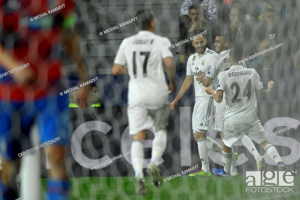 Stock Photo: L-R KARIM BENZEMA, SERGIO REGUILON and DANIEL CEBALLOS (all Madrid) celebrate a goal during the UEFA Champions League match, group stage, group G.