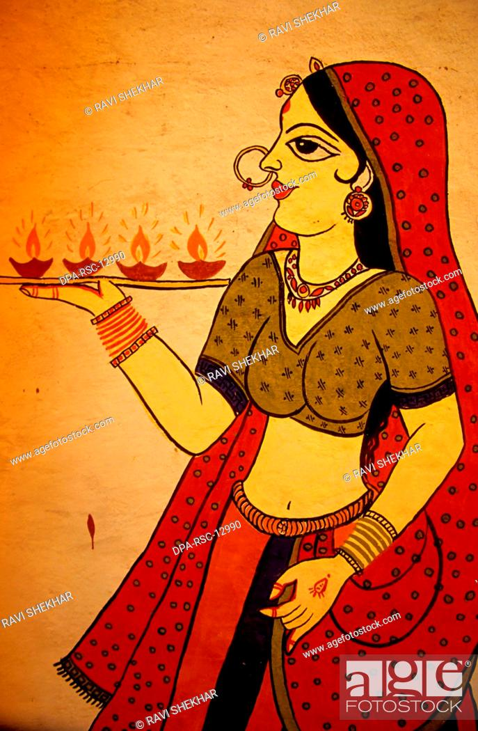 Wall Painting Jaipur Rajasthan India Stock Photo Picture And