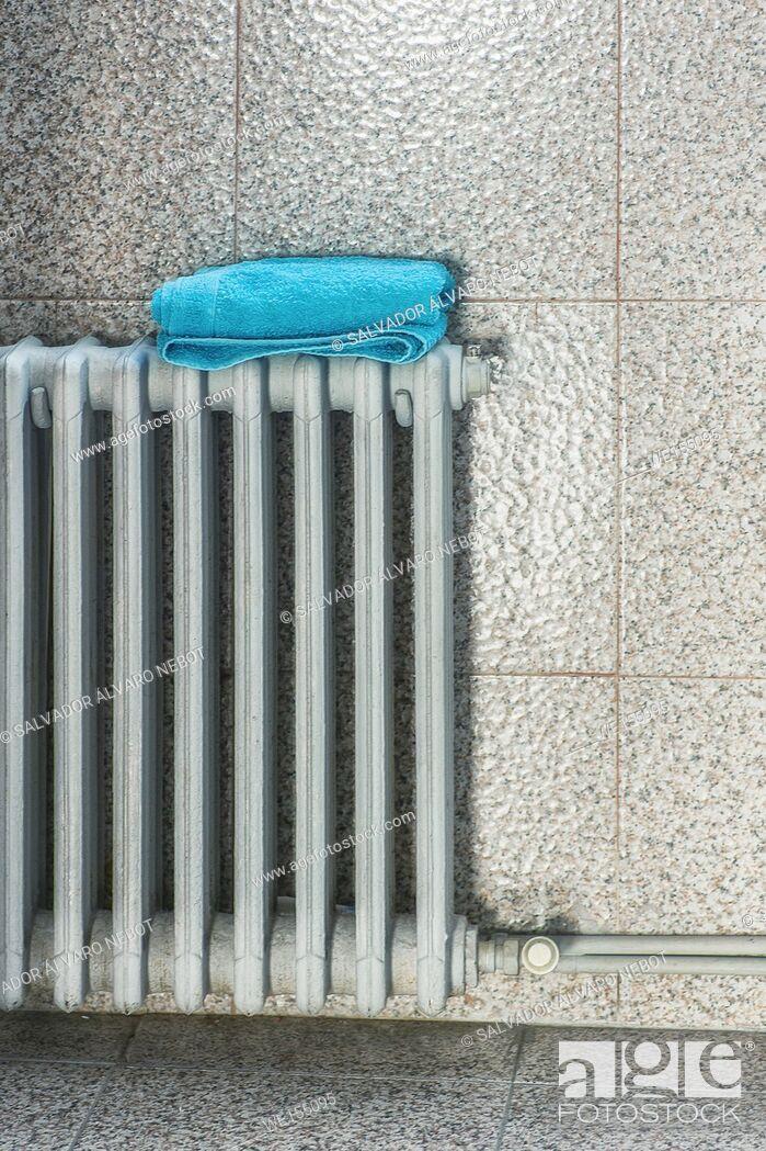 Stock Photo: Towel on a radiator.