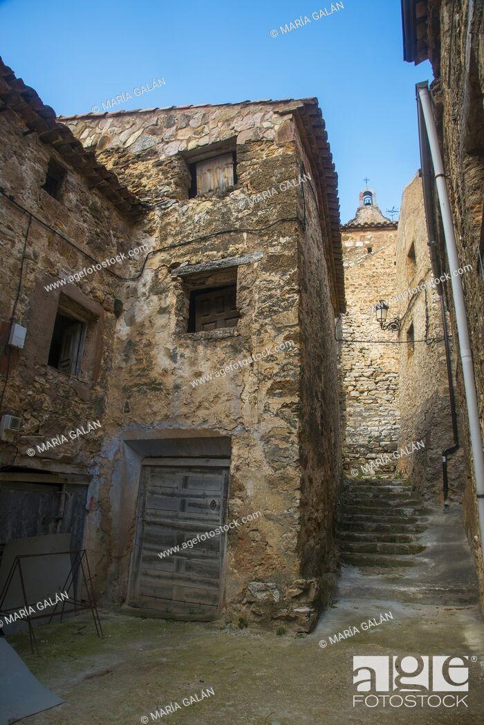 Stock Photo: Street. Chaorna, Soria province, Castilla Leon, Spain.