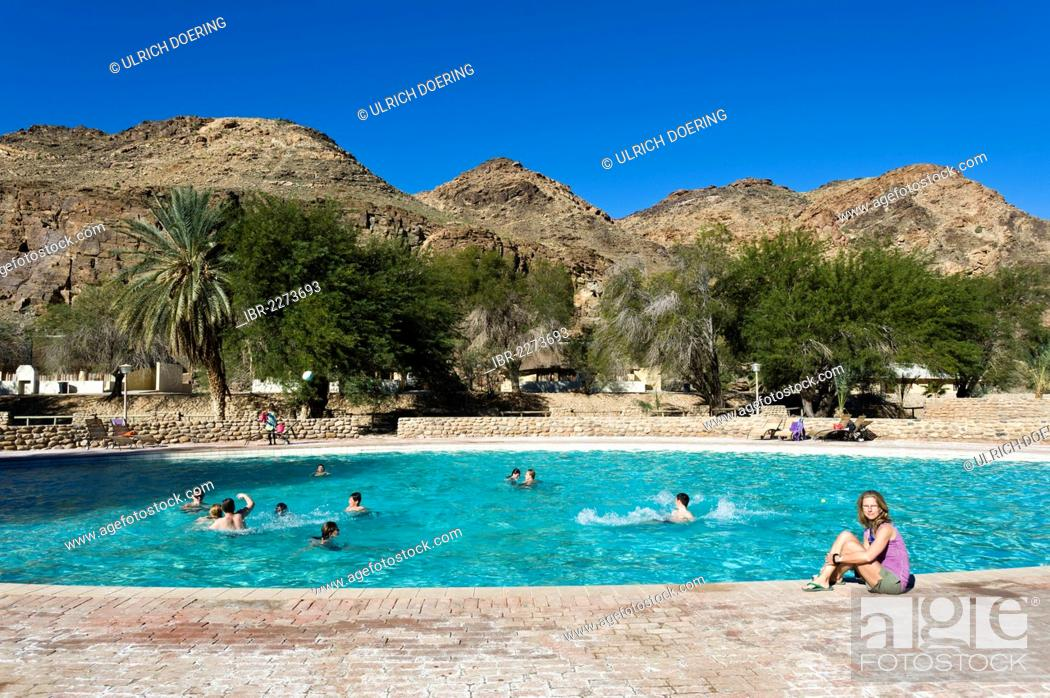 Stock Photo: Ai-Ais hot springs, swimming pool in Ai-Ais - Richtersveld Transfrontier National Park, Namibia, Africa.