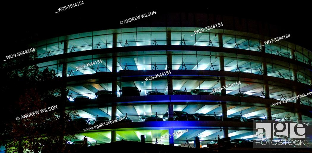 Stock Photo: Les Carmes multi-storey car park at night. Carmes district of Toulouse, France.