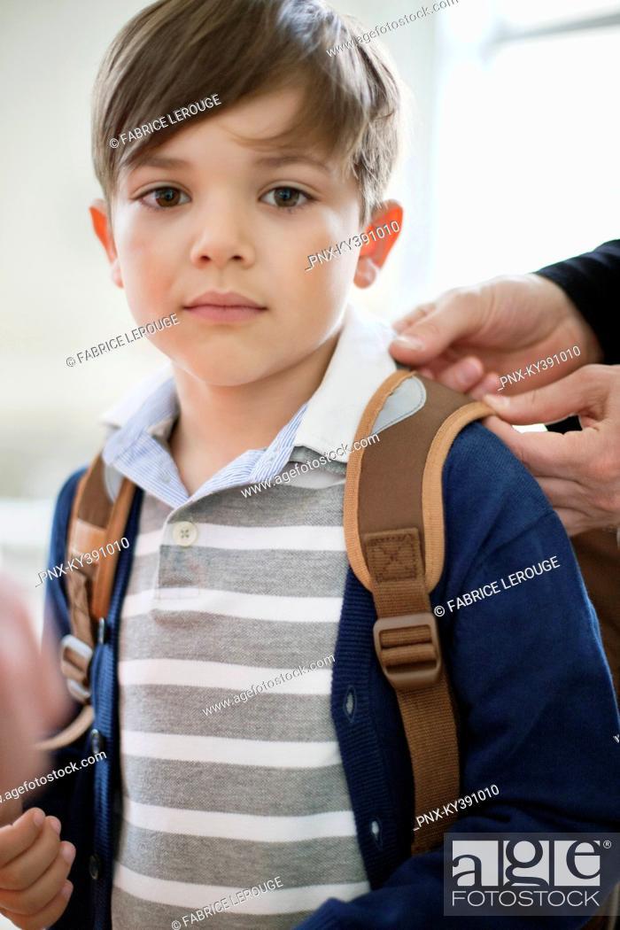 Stock Photo: Portrait of a schoolboy with schoolbag.