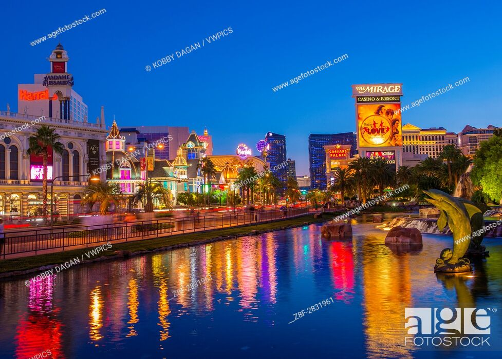 Stock Photo: View of the strip in Las Vegas. The Las Vegas Strip is an approximately 4. 2-mile (6. 8 km) stretch of Las Vegas Boulevard in Clark County, Nevada.