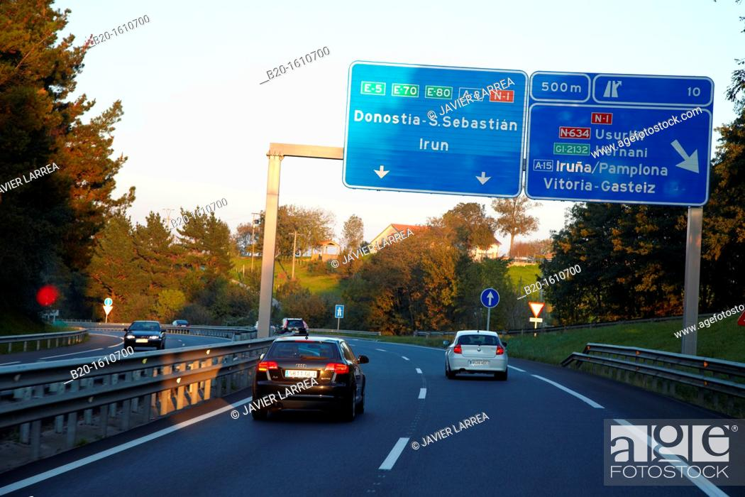 Stock Photo: Road signs, Entrance to San Sebastian by Highway, Donostia, Gipuzkoa, Basque Country, Spain.