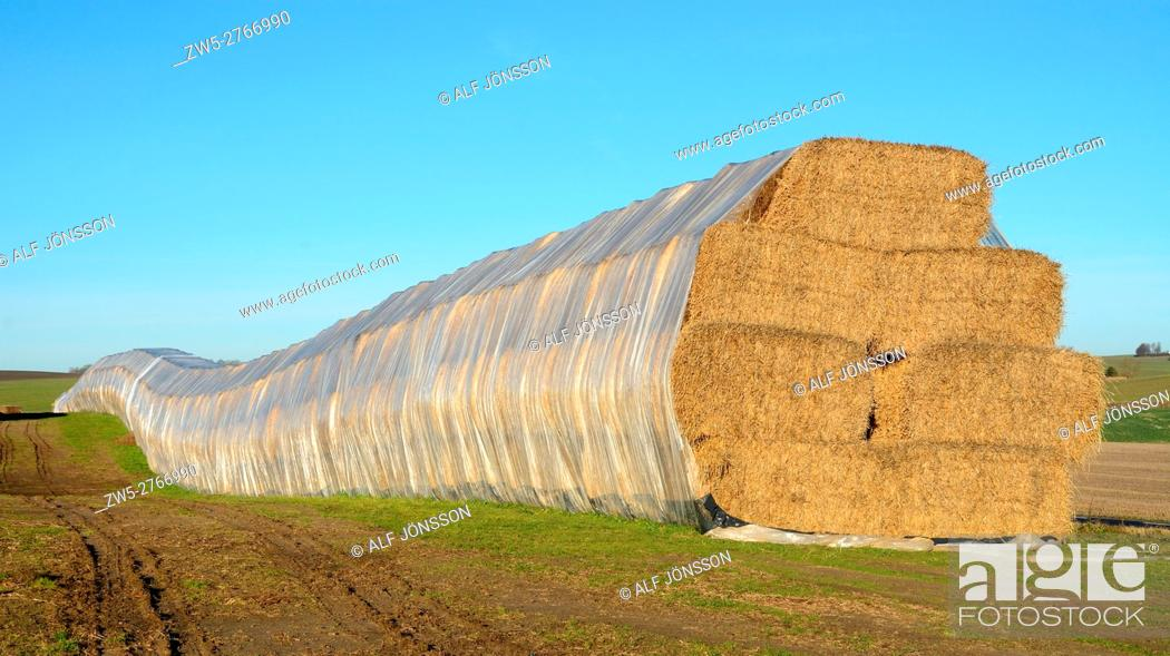 Stock Photo: Store by bales of straw in Skivarp, Scania, Sweden.