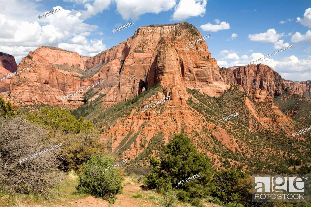 Stock Photo: Red sandstone mountains of the Kolob canyon , Zion canyon national park , U.S.A. United States of America.