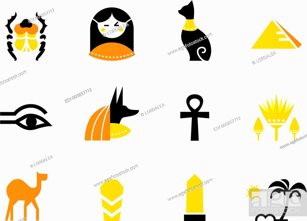 Vector: Egypt icons and design elements isolated on white ( back and orange ).