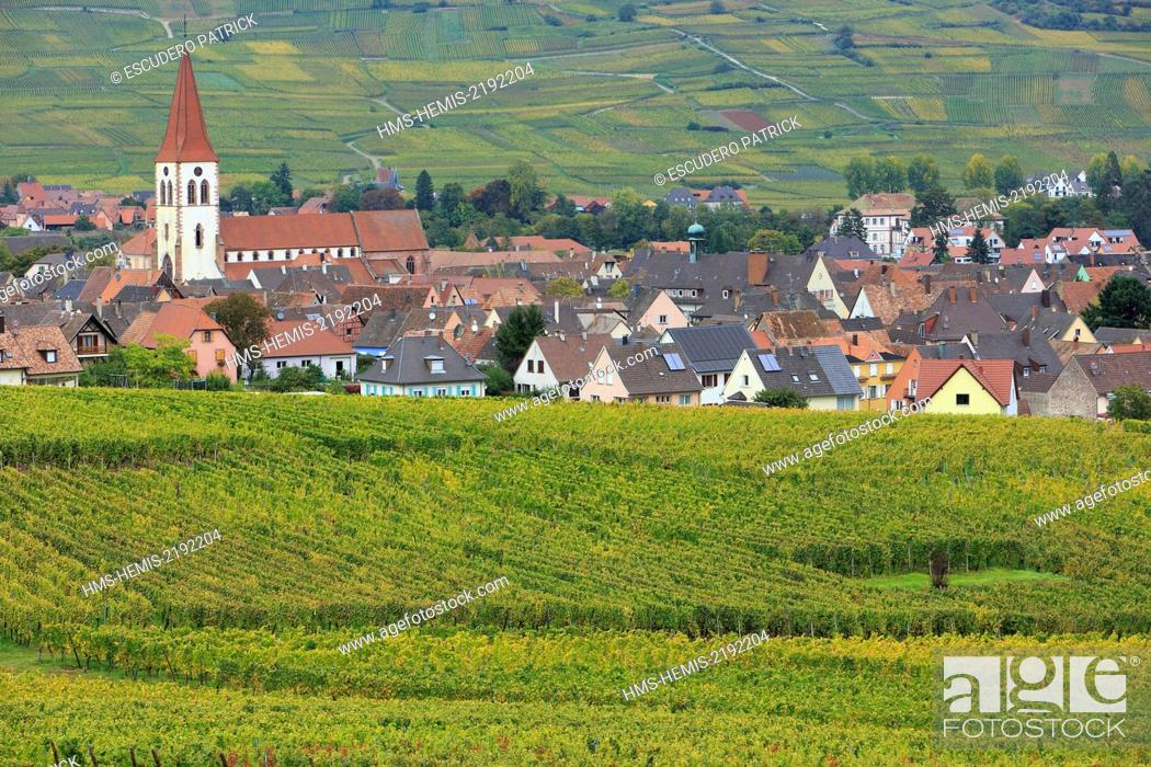 Stock Photo: France, Haut Rhin, Route des Vins d'Alsace (Route of the wines of Alsace region), Ammerschwihr, general view of the village and vinyards.