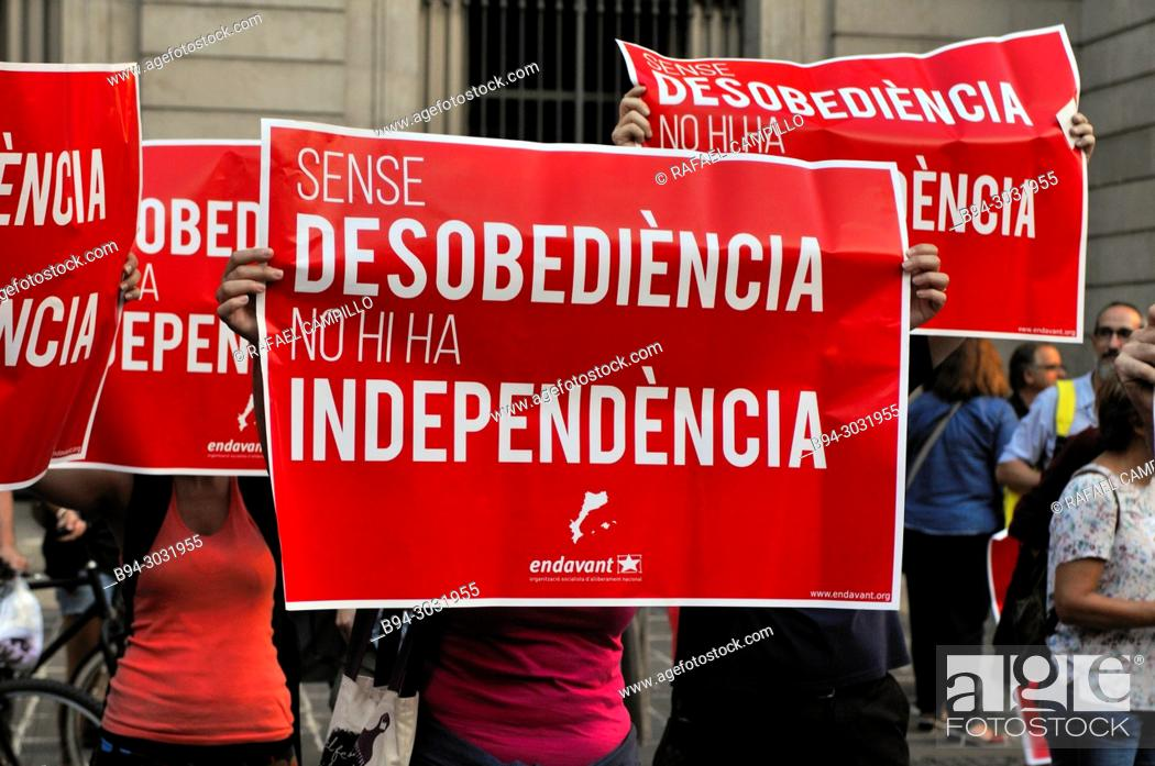 Stock Photo: Political demonstration for the independence of Catalonia. Defiance, Independence. September 2017. Barcelona, Catalonia, Spain.
