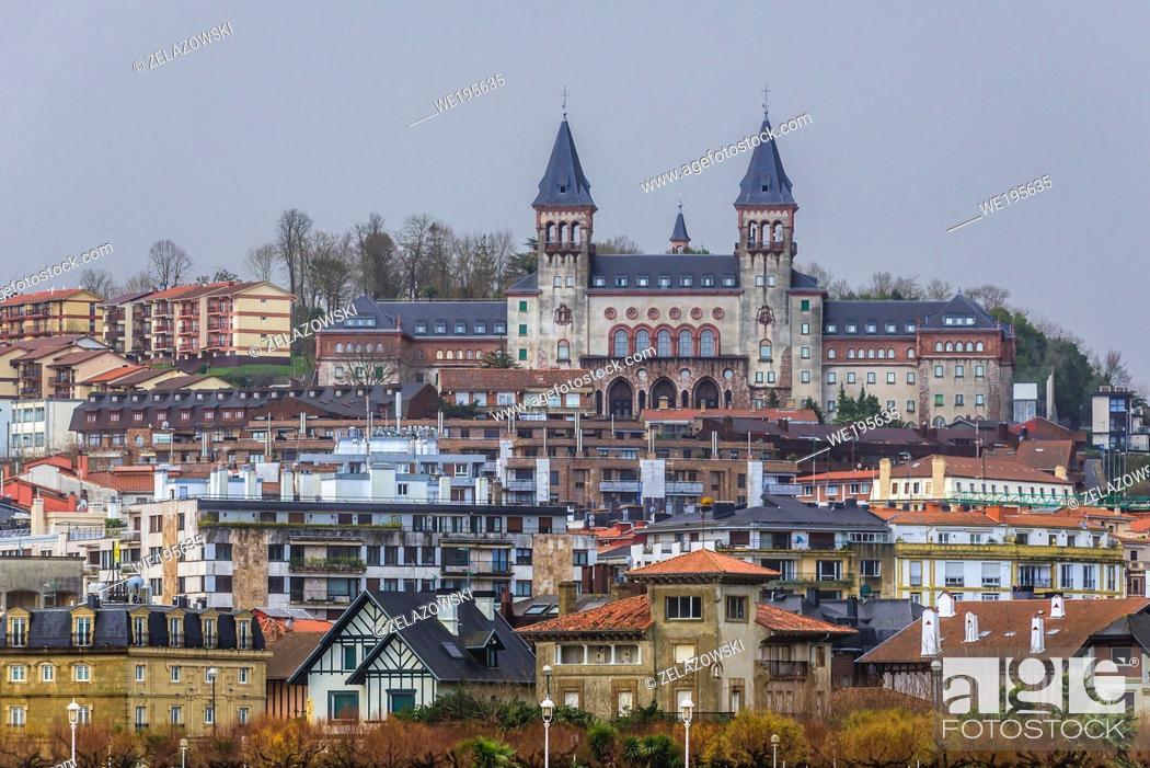Stock Photo: San Sebastian coastal city located in the Basque Autonomous Community, Spain - view with Diocesan Seminary building.