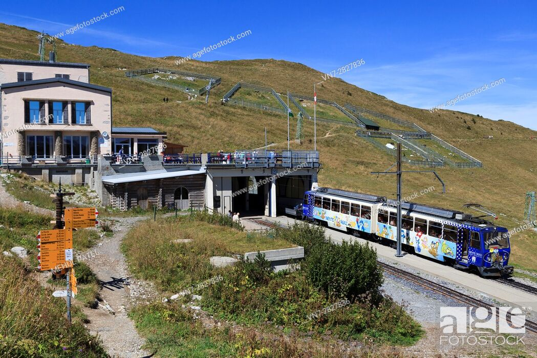 Photo de stock: Cog railway train at station of Rochers-de-Naye close to summit of the mountain, Switzerland, Europe. The train arrives from and departs to Montreux by Lake.