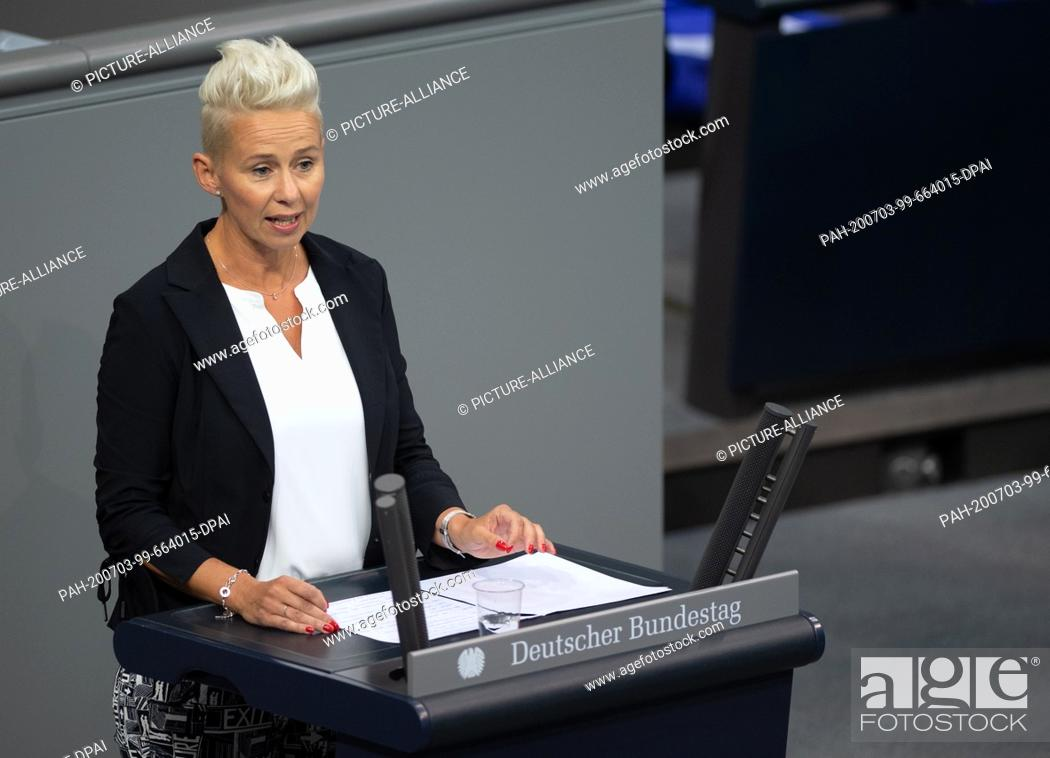 Stock Photo: 03 July 2020, Berlin: Silvia Breher (CDU), deputy party leader, speaks in the plenary session in the German Bundestag. The main topics of the 171st session of.