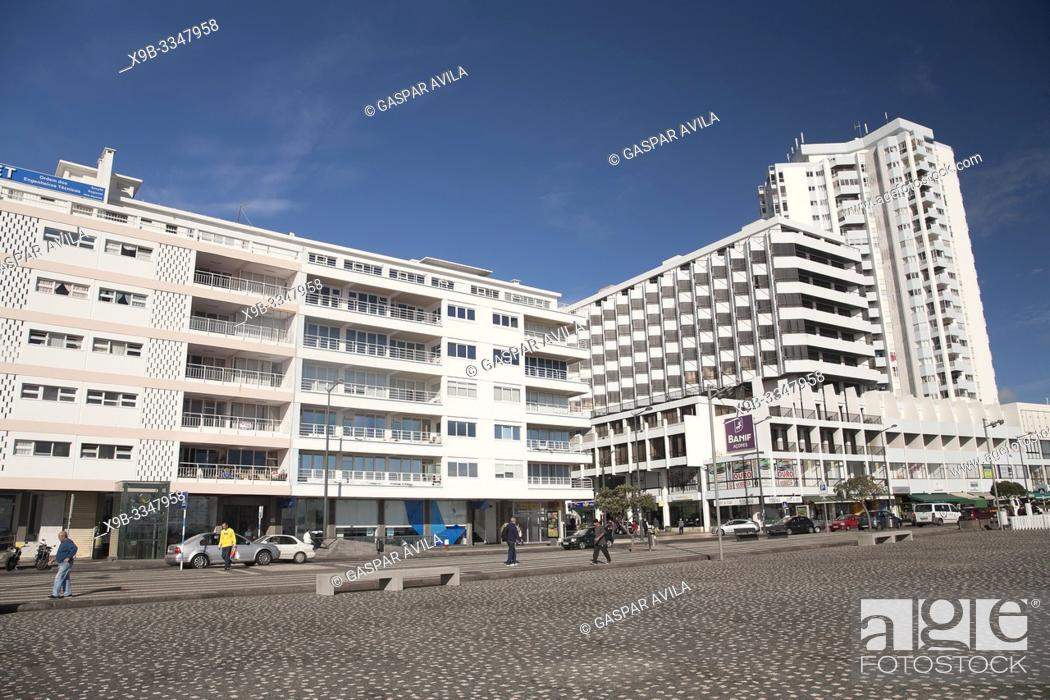 Stock Photo: Buildings in downtown Ponta Delgada. Sao Miguel island, Azores islands, Portugal.