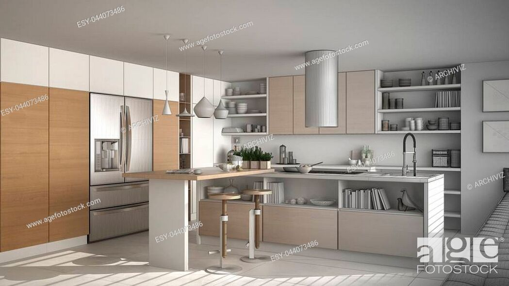 Stock Photo: Unfinished project of of modern wooden kitchen with wooden details, white minimalistic interior design.