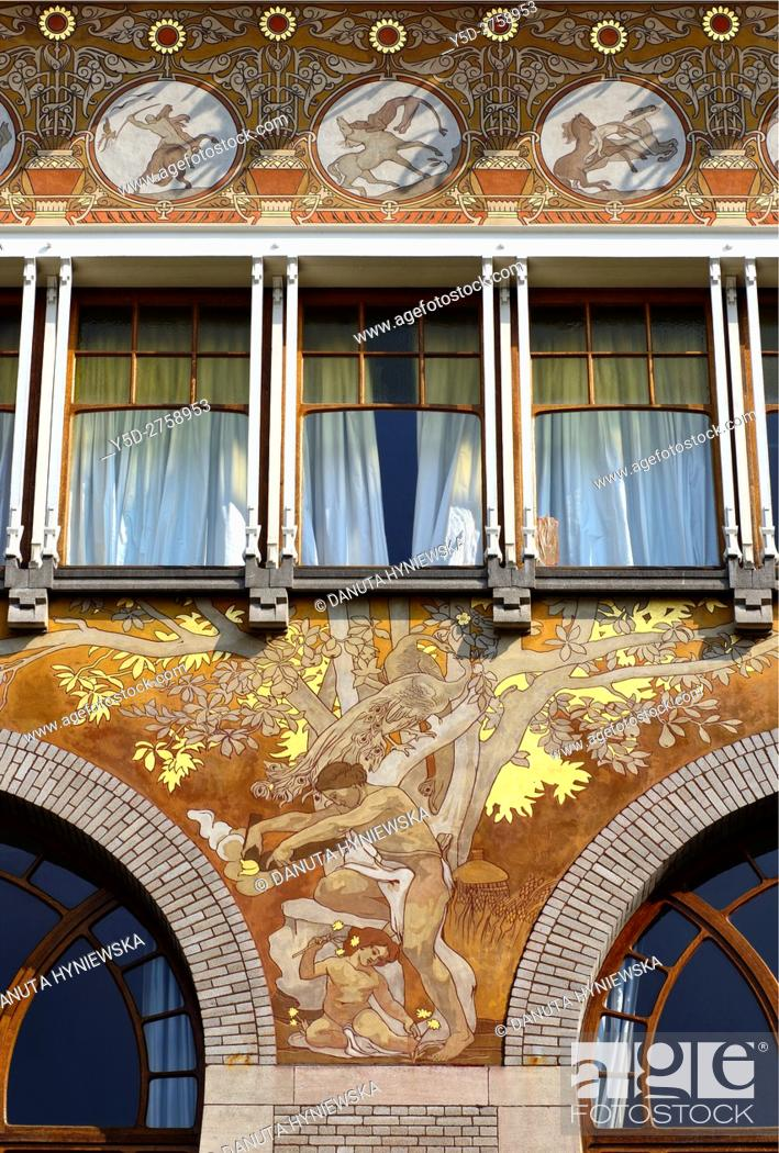 Stock Photo: Art Nouveau facade with beautiful paintings, Albert Ciamberlani house built in 1897 by Paul Hankar, Rue Defacqz 48, Brussels, Bruxelles, Belgium, Europe.