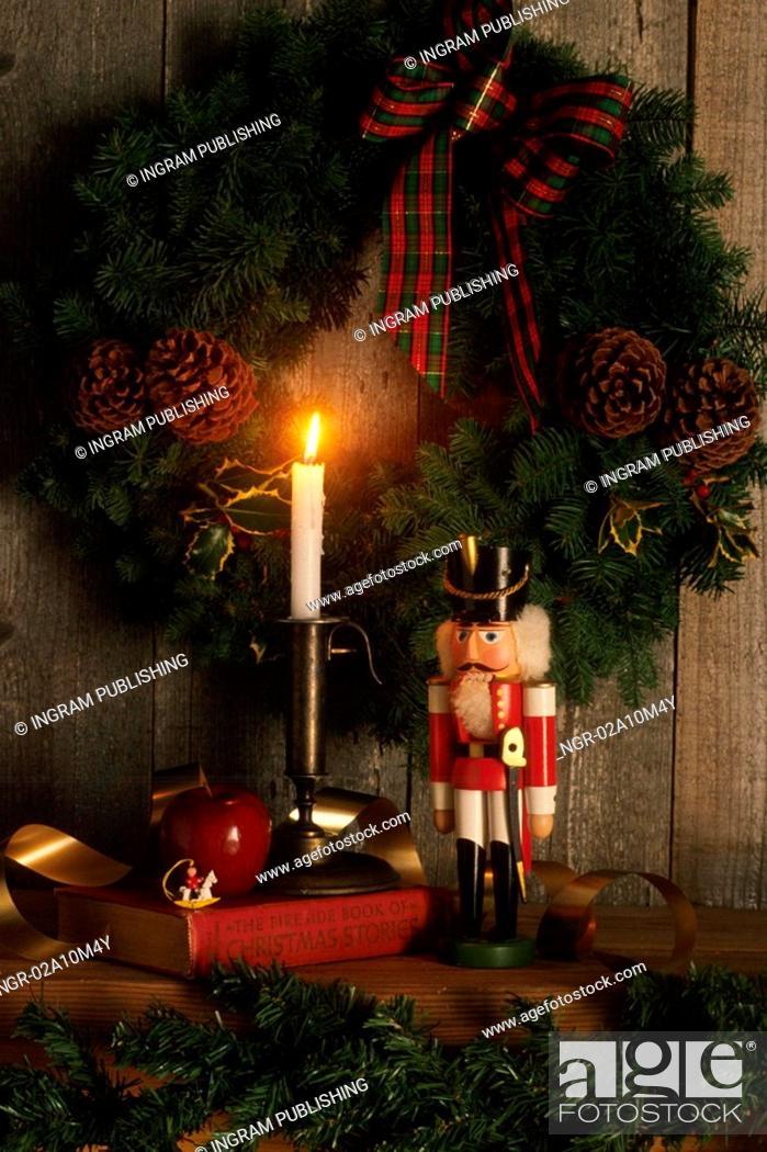 Stock Photo: Christmas Wreath with Nutcracker.