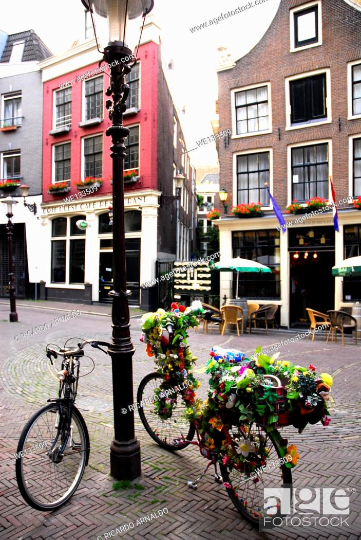Stock Photo: Decorated bicycles in Amsterdam.
