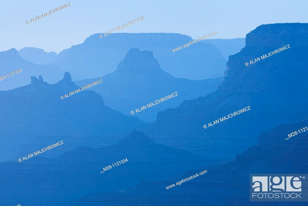 Stock Photo: Silhouettes of overlapping mesas and buttes, Grand Canyon National Park Arizona.