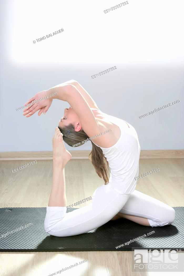 Stock Photo: yoga woman fitness girl in white meditation at gym on mat.