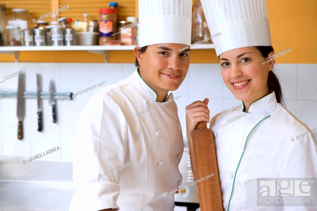 Stock Photo: Chefs, rolling pin. Luis Irizar cooking school. Donostia, Gipuzkoa, Basque Country, Spain.