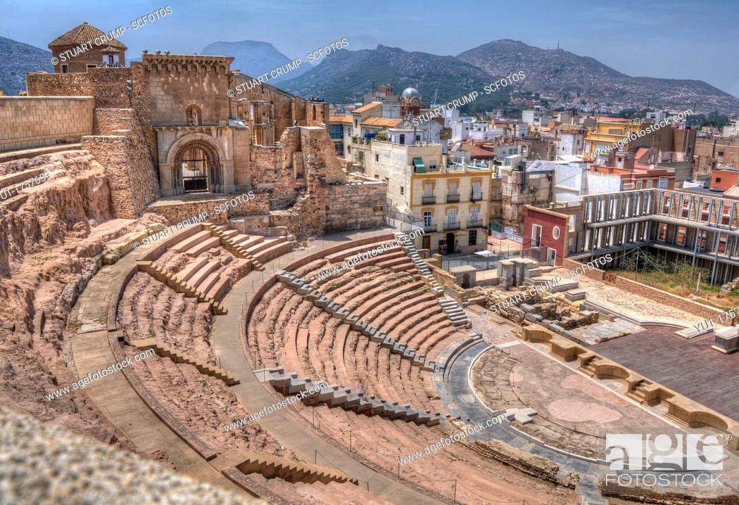 Stock Photo: HDR of The Roman Theatre of Carthago Nova and Cathedral ruins of Cartagena in the region of Murcia, Spain.